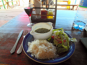 Photo: Couve, a traditional Mozambiquan vegetable dish, and french wine