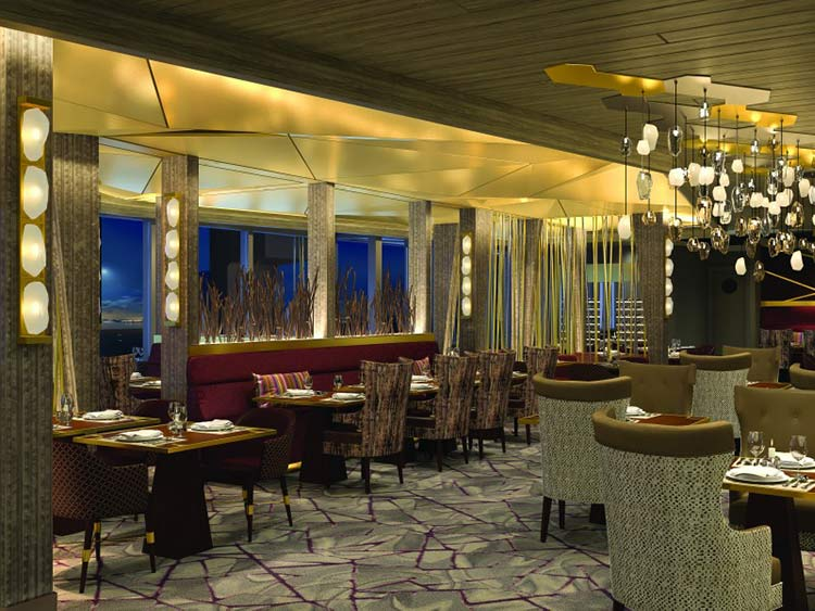 Fine Cut Steakhouse will provide an upscale dining experience for dinner in a setting marked by rich ruby, amber and gold design elements.