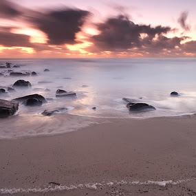 Infinite by Jason Asher - Landscapes Waterscapes ( sand, dawn, waterscape, cabarita beach, sea, sunrise, seascape, beach, rocks, mist )