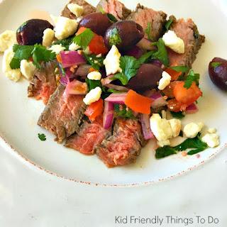 Grilled Ribeye Steak with Greek Relish.
