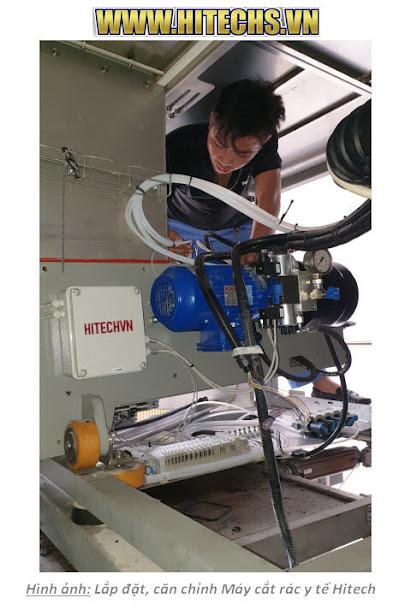 Cải tiến, sửa chữa mới máy cắt rác y tế bệnh viện nam định 2019. Máy cắt rác thủy lực ưu việt, Hitech-B450