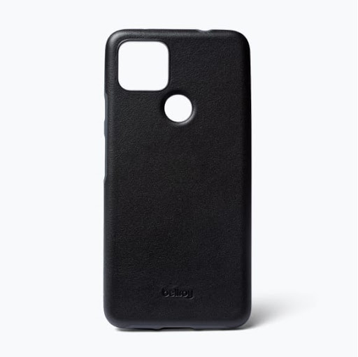 Exterior view of the Bellroy Leather Case for Google Pixel 5a (5G) in black.