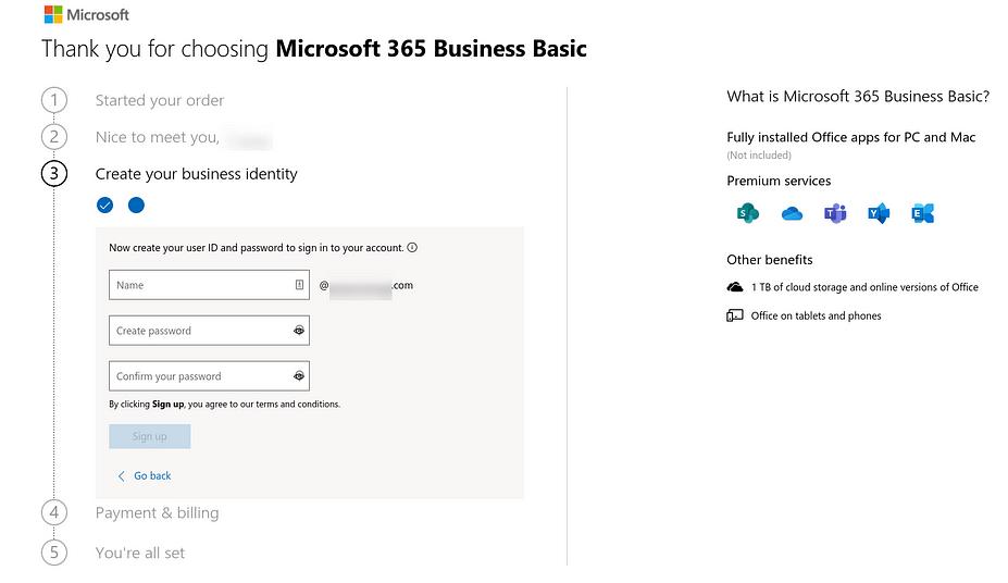 Biểu mẫu tạo ID người dùng và mật khẩu cho Microsoft 365.