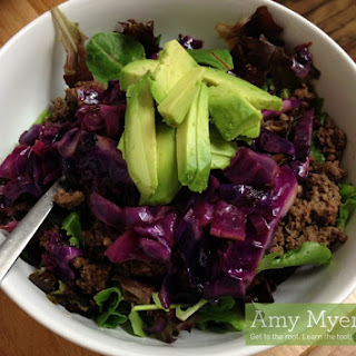 Sweet Cinnamon Red Cabbage Salad with Avocado and Grass-Fed Ground Beef