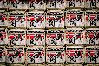 Photo: Rows of sake barrells stacked up at Sensoji Temple, during the Hagoita Market time in December.