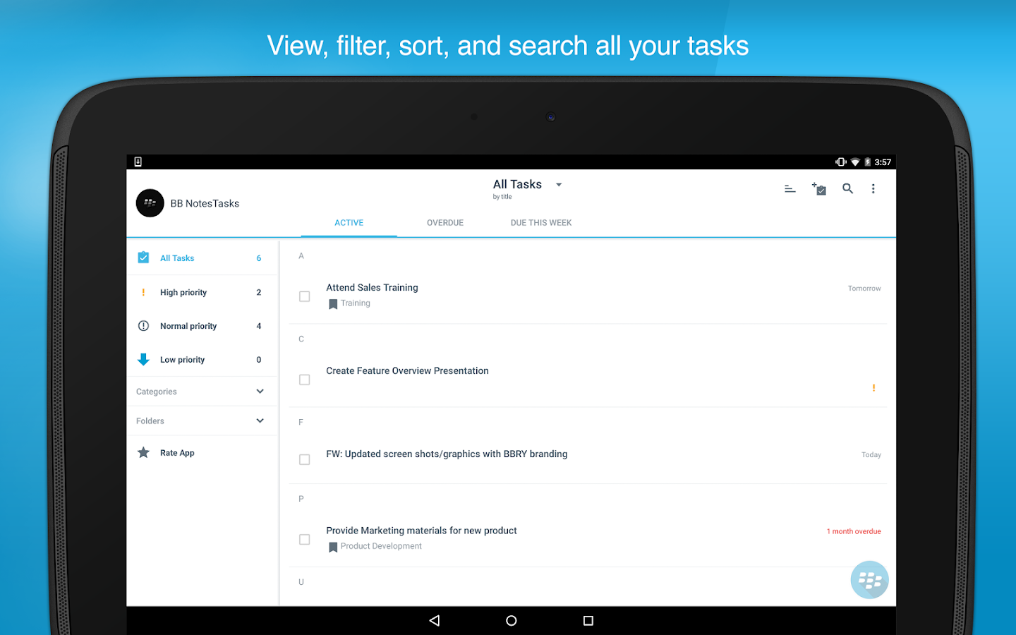 BlackBerry Tasks- screenshot