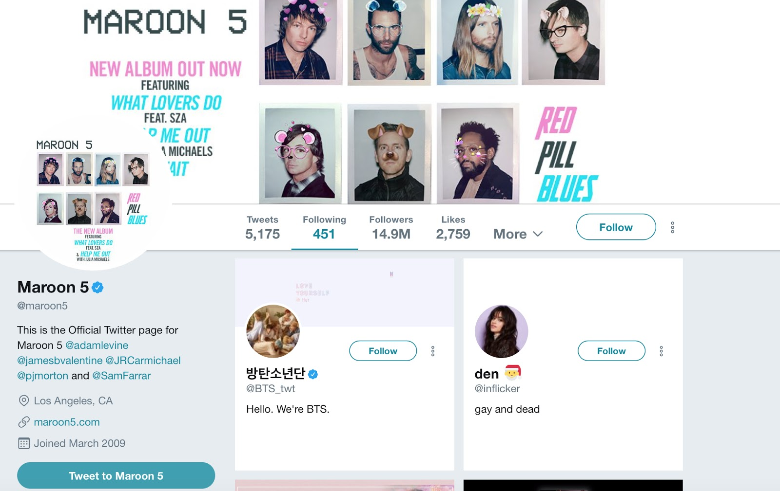 Maroon 5 and BTS Had A Moment On Twitter And You Can't Miss It