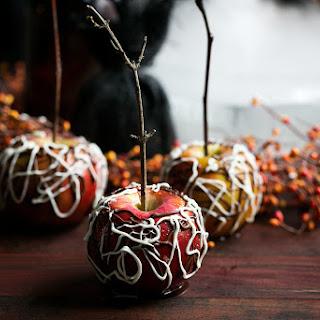 Sea Salt Bourbon Caramel Apples with Spiderweb Chocolate Recipe