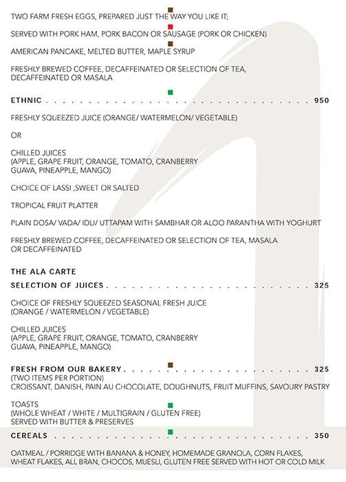 The One - Le Meridien menu 10