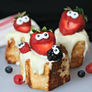 Toasted Angel Food Cake with Strawberries.