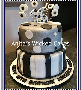 Metalic, black and white 16th birthday cake