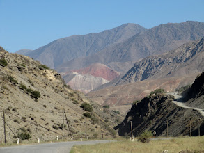 Photo: Day 167 -  Yes, We Have to Climb Up That Road on the Right (On the Road Between  Penzhikent and Anyi)