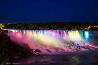 Photo: American Falls by Night, Niagara Falls, Ontario, Canada