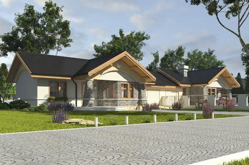 projekt Skowronek z garażem 1-st. bliźniak A-BL1