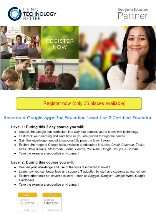 Google Level 1 or 2 Educator Bootcamp Victoria term 3 2016