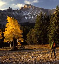 Photo: Hiker below Wheeler Peak at Sunrise, Great Basin National Park, Nevada