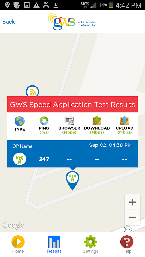 GWS SPEED APP- screenshot