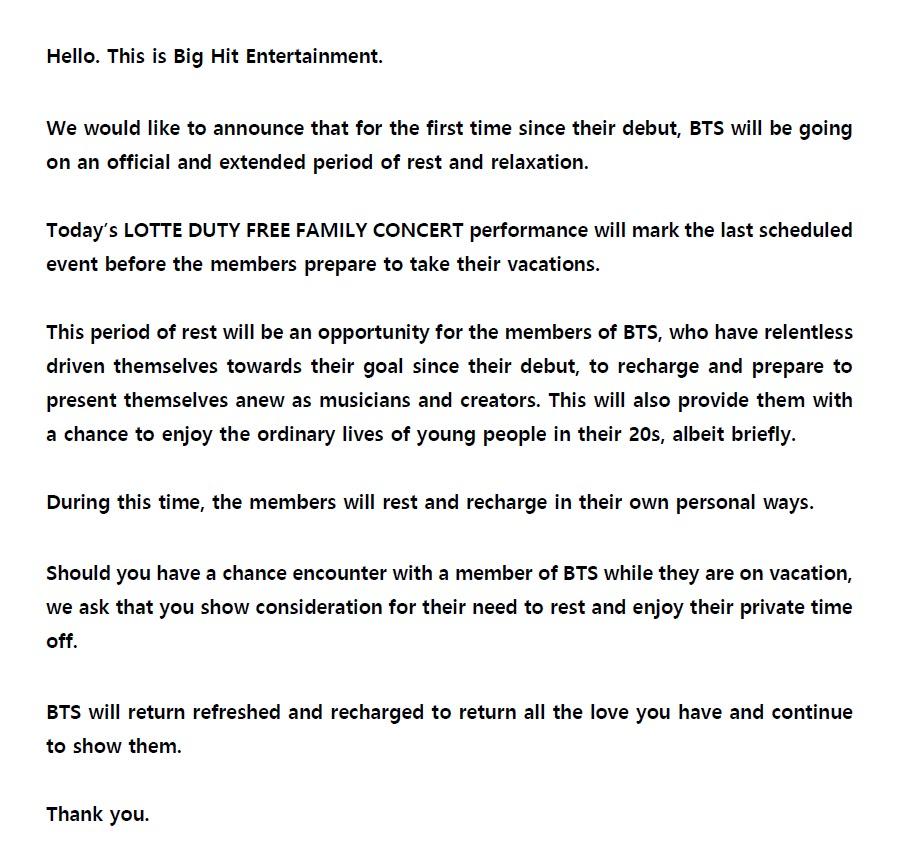 bts announcement