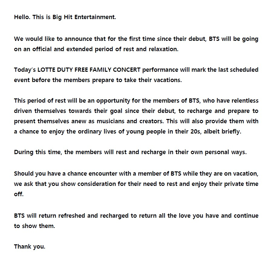 bts announcement