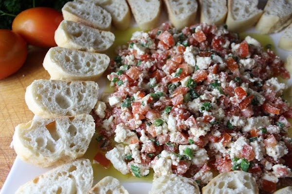 Serve with sliced baguette for dipping.  We usually use the baguette to pinch...