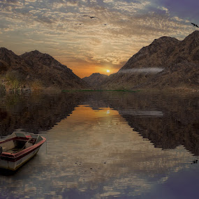 Amazing Sunset by Ahmad Badawi - Digital Art Places ( water, canon, sky, cloud, boat )
