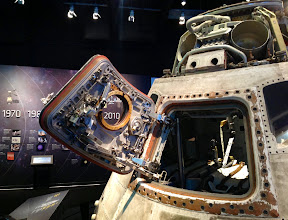 Photo: A crew seat is visible in the Skylab 3 Command Module at Great Lakes Science Center, home to NASA Glenn's Visitor Center