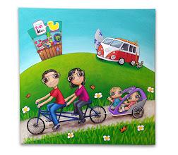 Photo: Lienzo personalizado: familia nenalizada :). 50x50 cm, pintado en acrílico y barnizado. Consultar precios