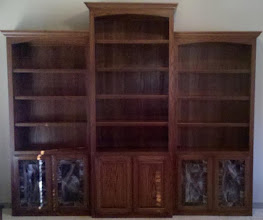 Photo: Book Case with a piece of stained glass.  Kitchen, curio, pantry, armoire, butler's pantry. Custom beautiful glass.