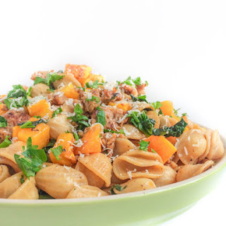 Roasted Butternut Squash, Sausage and Kale Pasta.