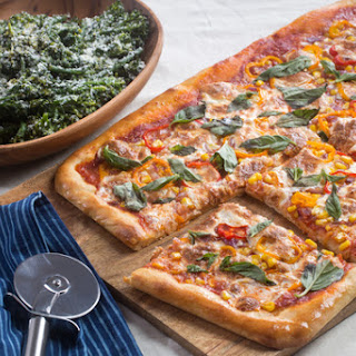 Summer Vegetable Pizza with Garlic-Lemon Broccolini