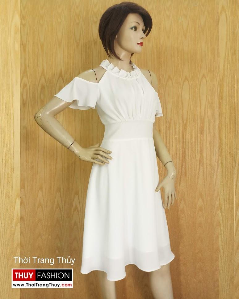 Váy xòe dáng dài trễ vai mặc đi dự tiệc đi biển V674 tại Hà Nội