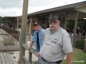Photo: Terry Saxon, a narrow gauge modeler visting from Colorado and Clyde Brown. HALS 2012-0818 Rick White Photo