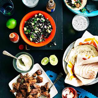 Carnitas Tacos With Black Bean Salad
