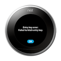 Nest thermostat entry key error display image.