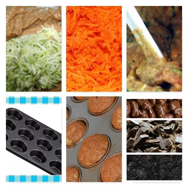 Batter With Zest And Zucchini, Grated Carrots, Batter Muffin Pan, Muffins,  Optional : Chocolate Covered Raisins, Chocolate Chunks (chips), Raisins