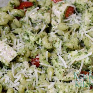 Pesto Pasta w/ Chicken and Grape Tomatoes