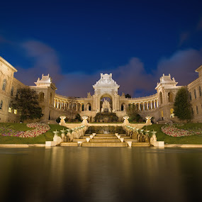 Palais Longchamp by Joyce Chang - City,  Street & Park  Historic Districts ( longchamp, fountain, marseille, palais, night )
