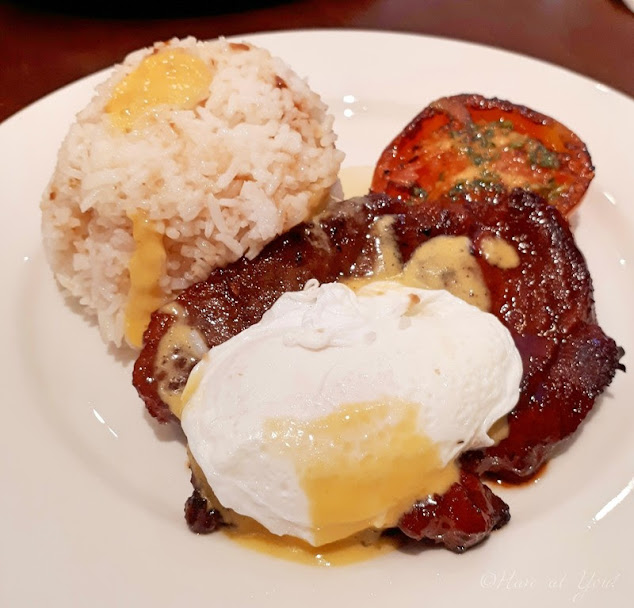sweet pork with garlic rice and poached egg