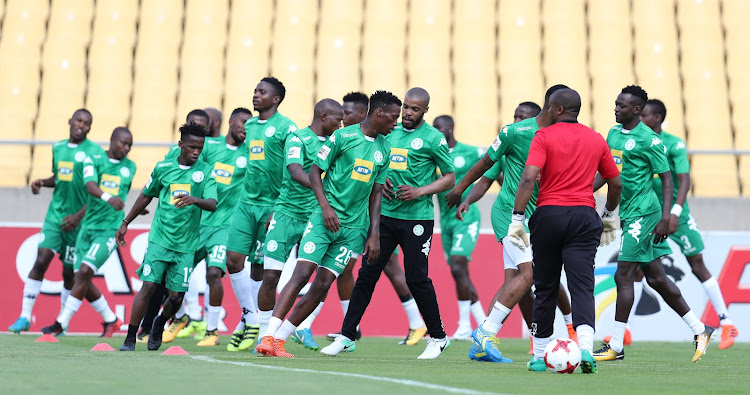 Bloemfontein Celtic players warming up before their 2017 Telkom Knockout quarter final match against Platinum Stars at Royal Bafokeng Stadium, Rustenburg South Africa on 04 November 2017.