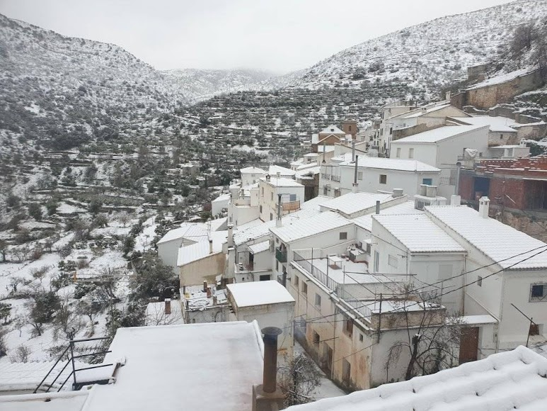 Estampa nevada en Laroya. / Foto: Salvador S.