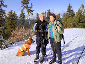 Photo: Linda and Polly (and Kiona) at Swauk Pass. Stuart Range in the background