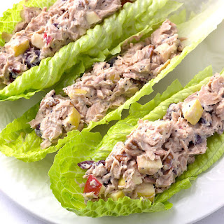Poppy Seed Greek Yogurt Tuna Salad with Apples Cranberries & Pecans.