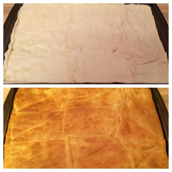 Roll out crescent rolls to make a crust on a cookie sheet.  Bake...
