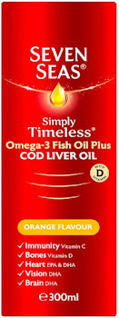 Seven Seas Cod Liver Oil Plus Omega 3 Fish Oil Syrup - Orange, 300ml