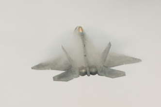 Photo: During high G transistions the F-22 Raptor blooms.
