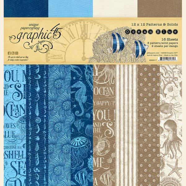 Ocean Blue 12x12 Patterns & Solid Pad
