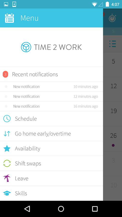 Time2Work Mobile- screenshot