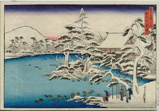 "Photo: Katsushika Hokusai, ""Alba innevata al tempio di Ryoan-ji"""