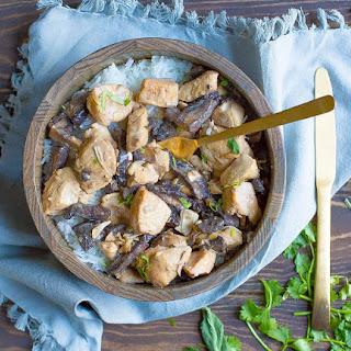Slow Cooker or Instant Pot Chicken Mushroom Stroganoff.
