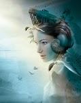 """vrouw van de zee met """"kust"""" hoofdtooi, vogels en zee"""